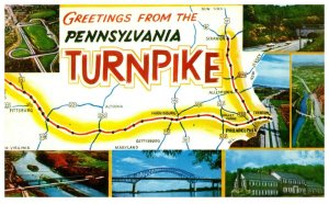 Pennsylvania Turnpike Postcard with Map and 7 Pictures