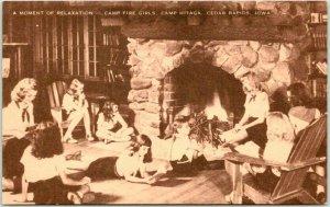 Cedar Rapids, Iowa Postcard CAMP HITAGA Campfire Girls Fireplace Scene /Artvue