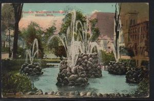 Detroit MI Fountain Washington Boulevard 1915 used colour PC