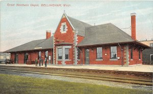 G33/ Bellingham Washington Postcard c1910 Great Northern Railroad Depot