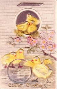 Super Easter Greetings Card with built up chicks, flowers and wall.