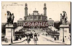 Old Postcard Paris The bridge & # 39iena and Trocadero