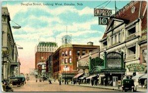 Vintage 1910s OMAHA, Nebraska Postcard DOUGLAS STREET, Looking West Theatre