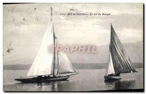 Postcard Old Boat Sailboat Aix les Bains Lake Bourget