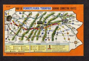 PA State Map Pennsylvania Turnpike Highway Routes Linen Postcard Penn PC