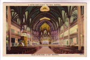 Interior The Nave, Notre Dame Montreal Quebec, Metropolitan, Made in USA