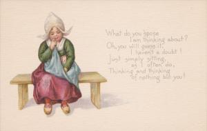 VALENTINE´S DAY; Dutch girl wearing bonnet sitting on a bench thinking, Poem...