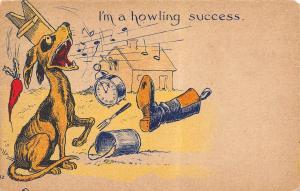 Comic Pun~I'm a Howling Success~Neighbors Throw Clock Boot Pail at Singing Dog