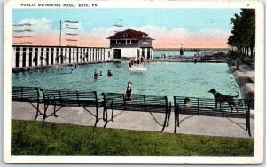 Erie, Pennsylvania Postcard PUBLIC SWIMMING POOL Bathing Scene w/ 1923 Cancel
