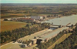 Port Weller Ontario Panorama~Welland Canal~Lock No 1~Town Beyond~1950s