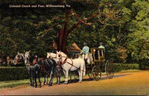 Virginia Williamsburg Colonial Coach and Four 1950  Curteich
