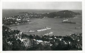 France~Villefranche Sur Mer~Military Ships~Nice RPPC 1940s? Les Belles Series