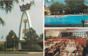 Findlay Ohio~Imperial House Motel Crown Arch~Lifeguard at Pool~Dining Room~1960s