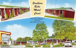 Centreville Alabama~Southern Belle Motel Court~US 82 & Rte 5~1950s Cars~Postcard
