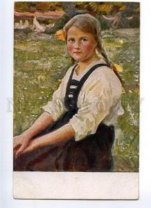 131264 Peasant Girl by EDELFELDT vintage Russian PC