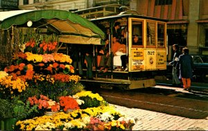 California San Francisco Cable Car and Flower Stand