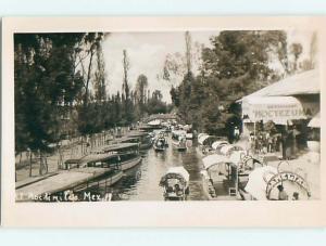Old rppc MOCTEZUMA RESTAURANT Xochimilco MEXICO t3082