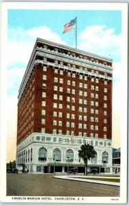 Charleston, South Carolina Postcard FRANCIS MARION HOTEL Street View c1940s