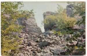 The Famous Split Rock, in the Pocono Mts., PA, unused Postcard