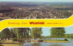 GREETINGS FROM WESTFIELD, UNION COUNTY, NJ two views 1966