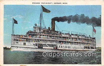 Steamer Put In Bay Detroit, Michigan Ship Postcard Post Card Detroit, Michiga...