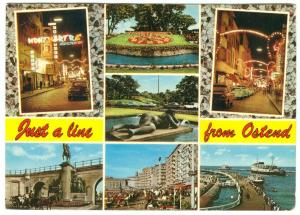Belgium, Just a line from Ostend, Oostend, 1971 used Postcard