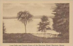 Maine Harrison Long Lake And Tennis Court Of The Harrison Hotel Artvue