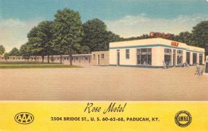 Paducah Kentucky~Gulf Gas Station~Strictly Modern Rose Motel~Linen Roadside 1940
