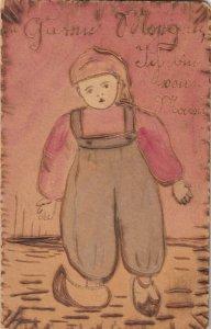 WOOD: Dutch Boy wearing overalls, 1900-10s