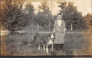 F27/ Animal RPPC Photo Postcard c1910 Dog Pulling Cart Girl 9