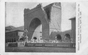 F29/ Stanford University California Postcard c1906 Earthquake Disaster Arch