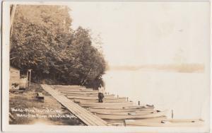 Michigan Mich RPPC Real Photo Postcard 1949 WELLSTON Mana Pine Tourist Camp BOAT