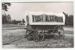 Covered Wagon Fort Algonquin St Ignace Michigan 1950s RPPC postcard