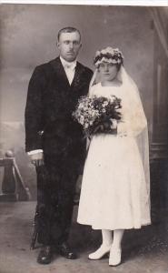 Romantic Couple In Wedding Attire Real Photo