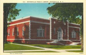 Statesville North Carolina~Public Library in the Shade 1940s~