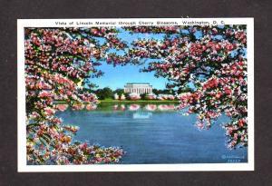 DC Cherry Blossoms Lincoln Memorial Washington DC Postcard Cherry Blossoms Tree