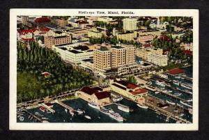 FL Bird's Eye Aerial Vintage Miami Florida Postcard PC Carte Postale Boats