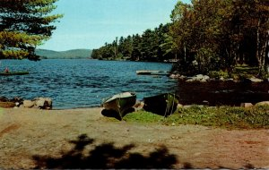 Maine Belgrade Lakes View Of Long Pond From Public Landing