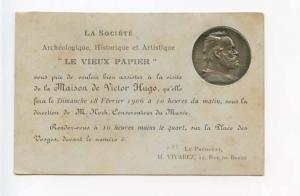 Victor Hugo Silver Coin Embossed Le Vieux Papier French  Postcard
