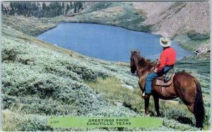 GREETINGS from CANUTILLO, Texas  TX   Man on Horseback      Postcard