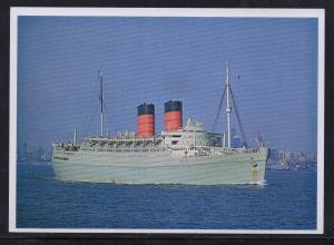 Ship SS Mauretania Cunard Lines colour PC New York 1963 unused
