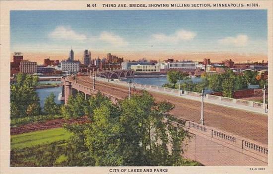 Minnesota Minneapolis Third Avenue Bridge Showing Milling Section City Of Lak...