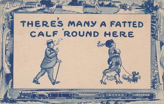 Delft Blue Border Series Woman Walking Dog With Man Following 1914