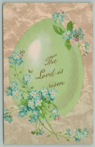 Easter~The Lord Is Risen~Written In Gold On Lime Egg~Blue Forget-Me-Nots~Germany