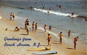 Beach Haven New Jersey Bathing Beach Scene Vintage Postcard K67240