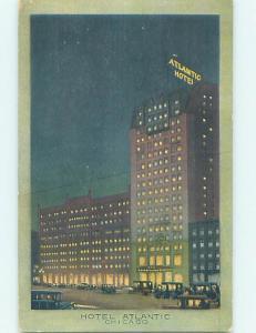 Damaged-Back Divided-Back ATLANTIC HOTEL Chicago Illinois IL B4747