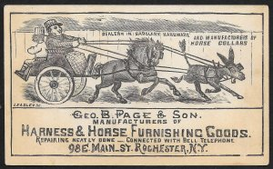 VICTORIAN TRADE CARD Page Harness & Horse Goods Carriage Horse & Mule
