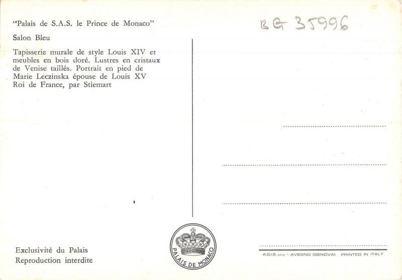 BG35996 palais de sas le prince de monaco salon bleu postcard