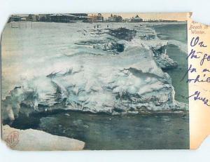 Damaged Badly Pre-1907 BEACH SCENE Revere Beach - Boston Massachusetts MA A3624