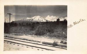 Mount Shasta CA Railroad Tracks RPPC Postcard